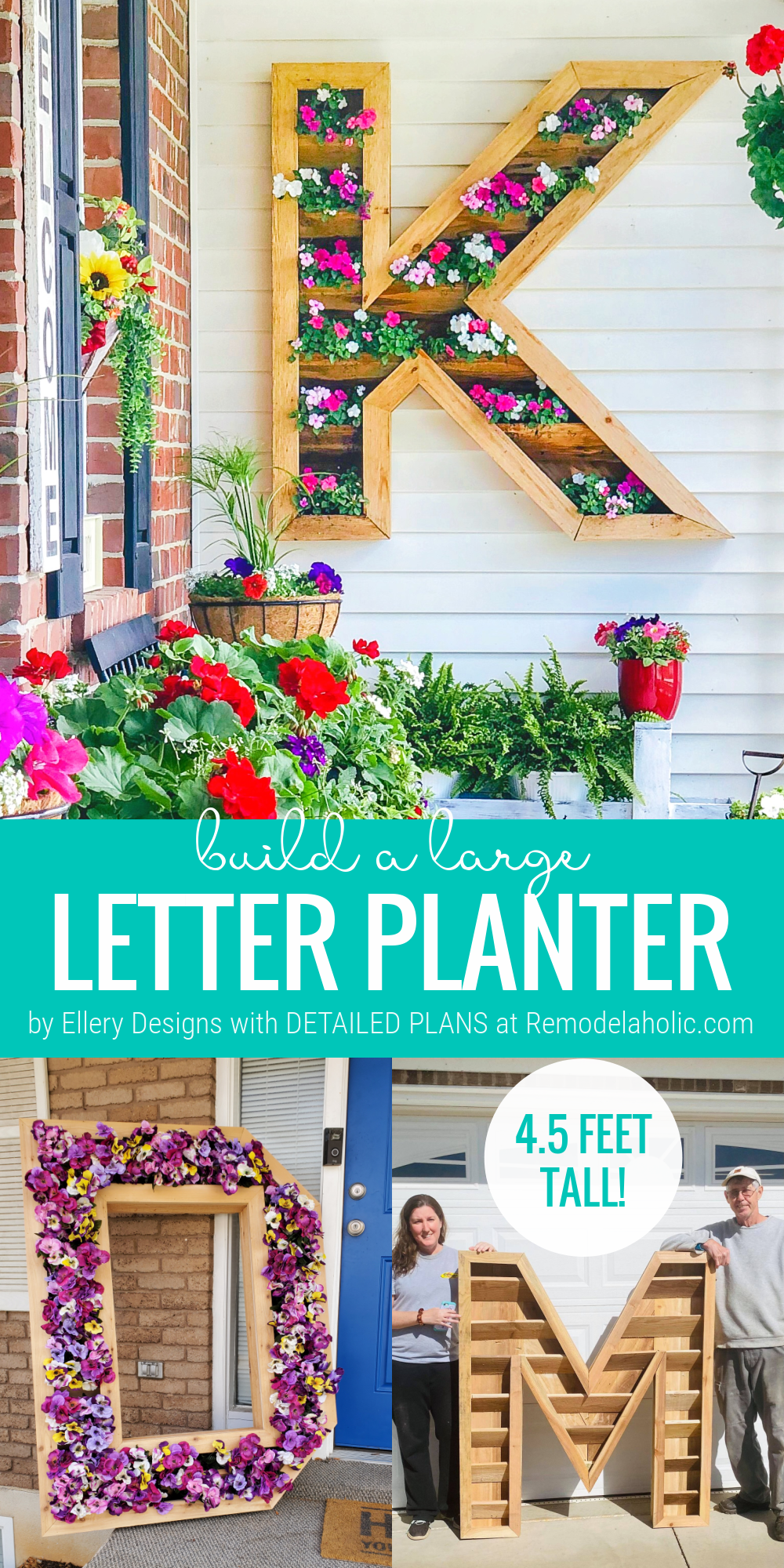 DIY Large Outdoor Wood Monogram Letter Vertical Planter Plans, Remodelaholic