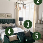 Five Tips To Get This Look. Add A Touch Of Color With Emerald Green In This Amazing Transitional Master Bedroom Featured On Remodelaholic.com