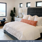 Get This Look. Recreate This Effortless But Glam Look In Your Bedroom. 5 Tips For Creating A Beautiful Modern Glam Master Bedroom Featured On Remodelaholic.com