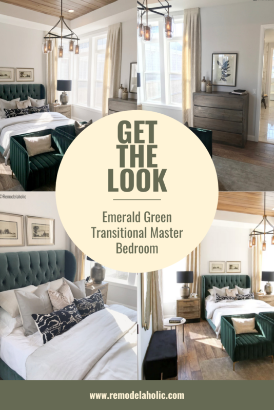 How To Get The Look Of This Gorgeous Emerald Green Transitional Master Bedroom Featured On Remodelaholic.com