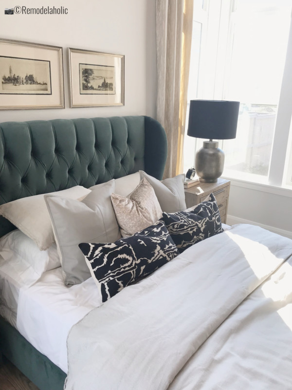 SLPH Model Home 1 Holmes Homes, how to create a luxurious master bedroom with emerald green.