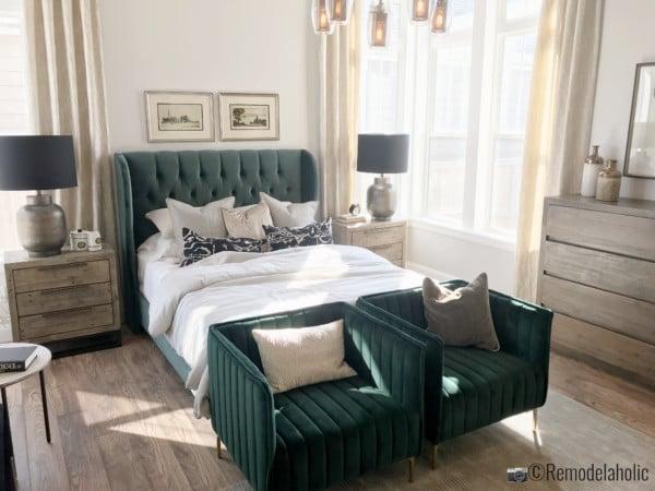 SLPH Model Home 1 Holmes Homes Green upholstered headboard