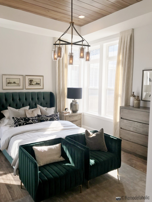 SLPH Model Home 1 Holmes Homes, emerald green themed master bedroom