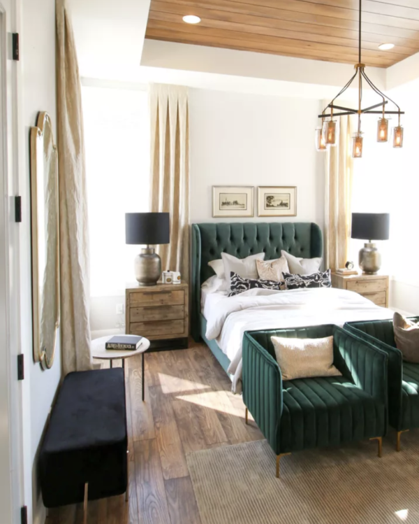 SLPH Model Home 1 Holmes Homes. Beautiful master bedroom idea. Emerald Green Transitional Master Bedroom
