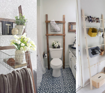 Add Baskets Or Shelves To A Blanket Ladder For Storage #remodelaholic