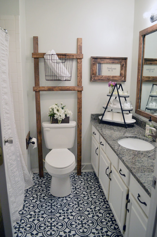 Bathroom Ladder Storage Over Toilet, Via Cutting Edge Stencils