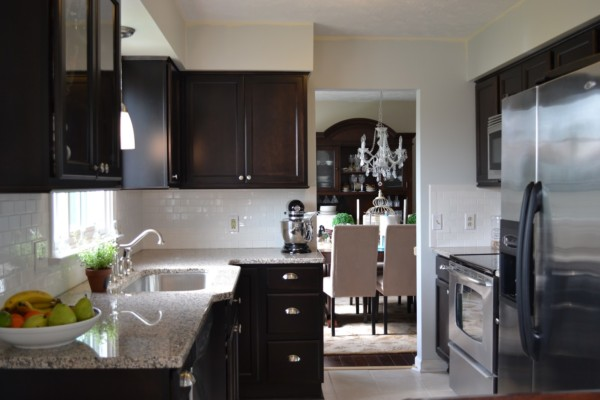 Before And After Beautiful Dark Wood Kitchen Remodel, Featured On Remodelaholic
