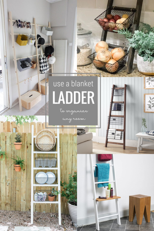 Blanket Ladder Organizing Ideas With Baskets Shelves And Hooks #remodelaholic