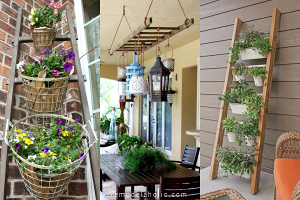 Easy Diy Porch Ladder Ideas For Outdoor Decorative Ladders For Flower Planters Vertical Garden Lighting Remodelaholic