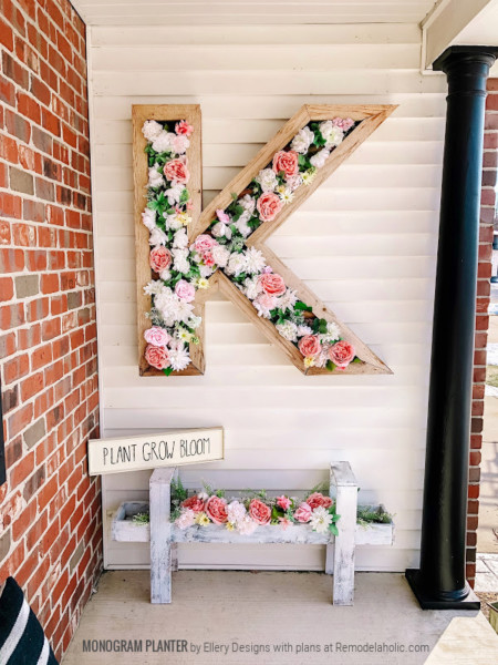 Faux Flowers In DIY Outdoor Monogram Letter Planter, Ellery Designs And Remodelaholic