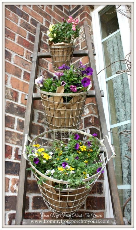 Flower Basket Ladder For Porch Decor, From My Front Porch To Yours