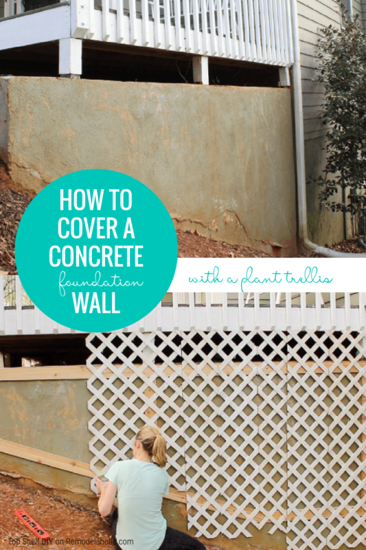How To Cover A Concrete Foundation Wall With An Easy DIY Plant Trellis Wall, Top Shelf DIY On Remodelaholic