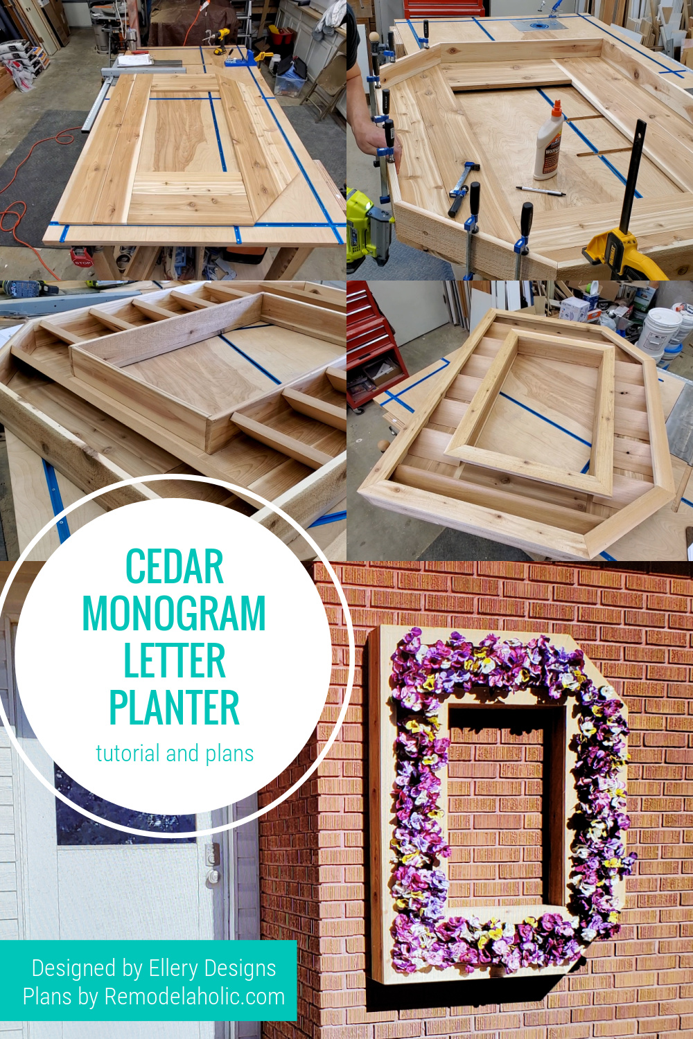 Large Outdoor Cedar Monogram Letter Planter Plans, Remodelaholic