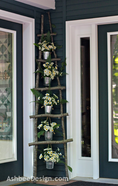 Outdoor Porch Ladder With Daisies, Ashbee Designs