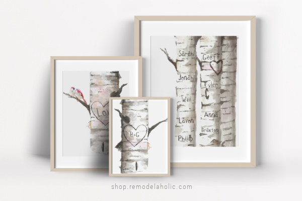 Personalized Gift Idea For Mom Dad Wedding, Custom Carved Birch Tree Art Set, Remodelaholic