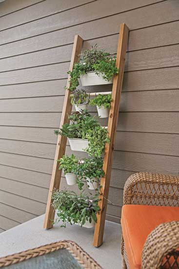 Vertical Wooden Ladder Porch Planter, Capper's Farmer