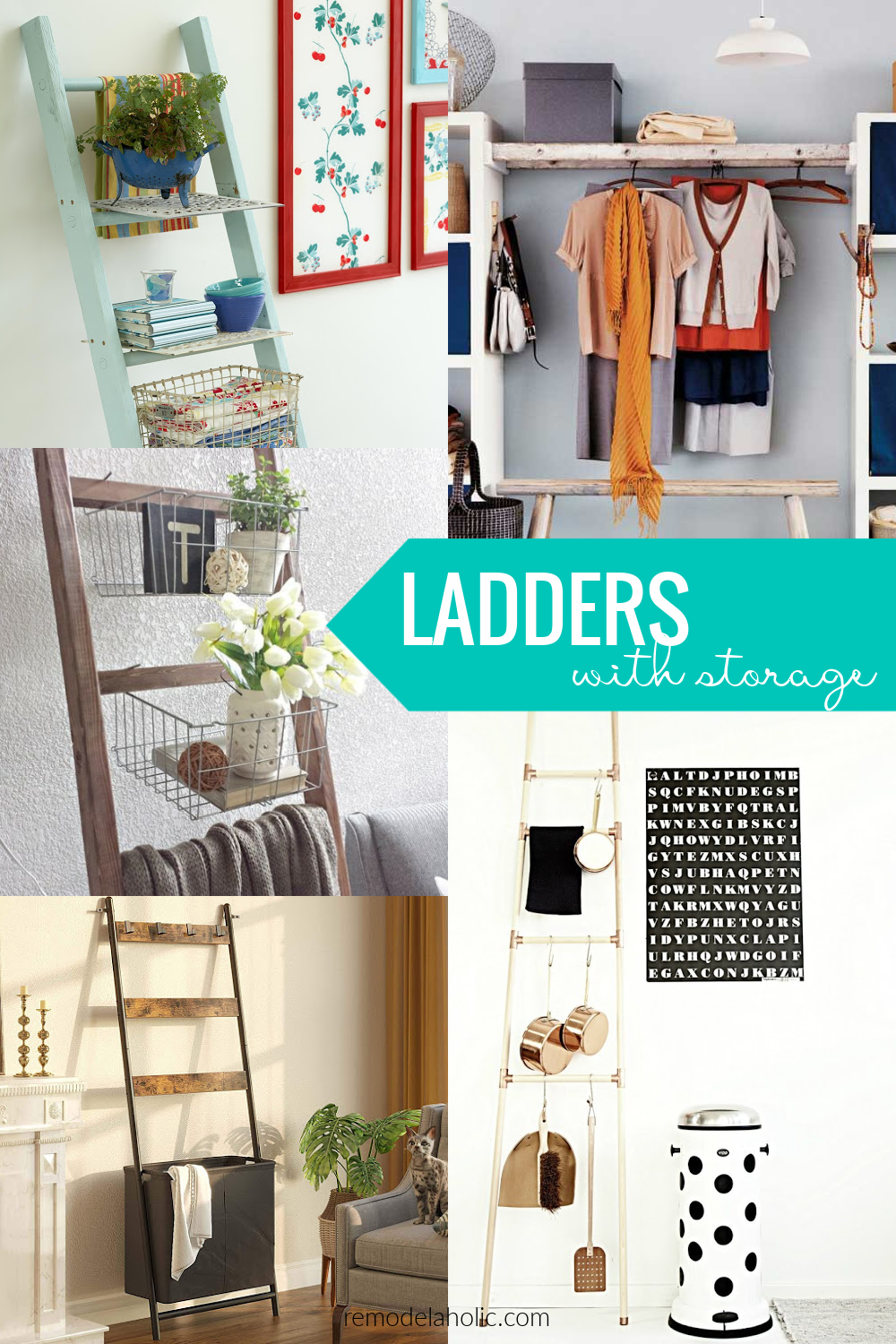Wood Blanket Ladder Ideas With Storage Baskets Bins And Hooks, Remodelaholic