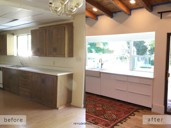 1960's Galley Kitchen Remodel Ideas Before And After With White IKEA Cabinets Ceiling Beams Picture Window, Remodelaholic