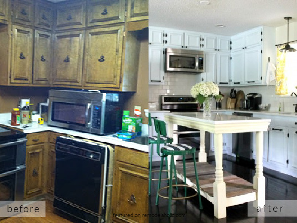 1960s Ranch Kitchen Remodel Before And After, DIY Ideas For White Painted Cabinets And Island, Rain On A Tin Roof On Remodelaholic