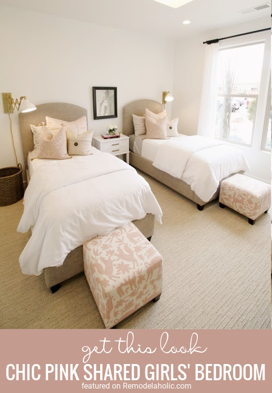 5 Tips To Get The Look Of This Neutral But Chic Pink Shared Girls Bedroom Featured On Remodelaholic.com (1)