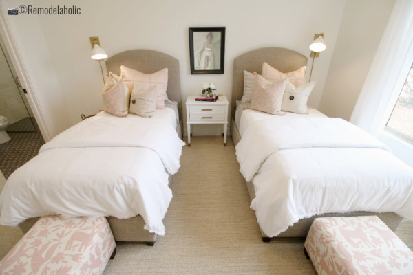 Pretty in pink little girls room with neutrals. SGPH 2019 House 07 Brio Homes LLC : Expression By Design (EBD Studio One) Angie Haymond & Peggy McIntyre6