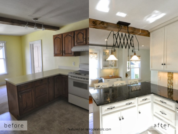 Before And After New Englander Dated Kitchen Remodel To Open White Small Kitchen, SoPo Cottage On Remodelaholic