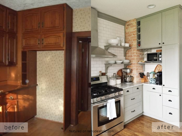 Before And After Small Kitchen Remodel With Gray IKEA Cabinets And Exposed Brick, Carpendaughter On Remodelaholic