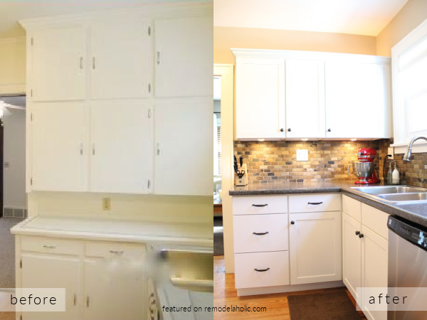 Before And After Small White Kitchen Remodel DIY, Featured On Remodelaholic
