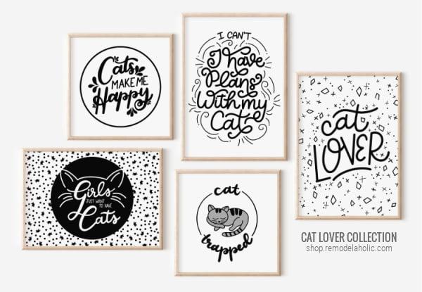 Cat Lover Printable Black And White Art Prints For Cat Owner Home Decor, Remodelaholic