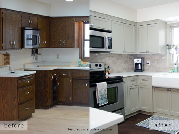 Do It Yourself Kitchen Remodel Ideas Before And After With Gray Painted Cabinets, Ramblings From The Burbs On Remodelaholic