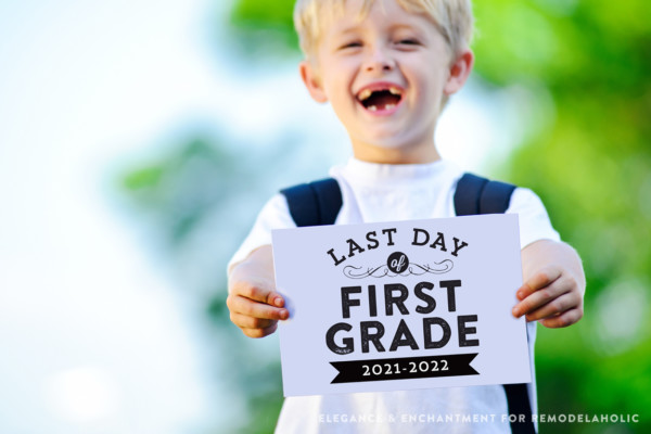 Last Day Of School Printable Signs, Black And White, Remodelaholic