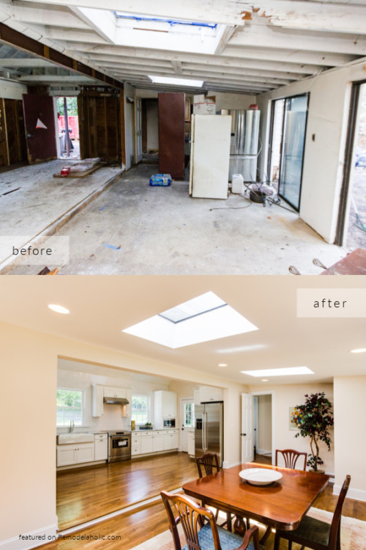 Open Kitchen Remodel Ideas After Fire, White Kitchen With Wood Floors, Cobblestone On Remodelaholic