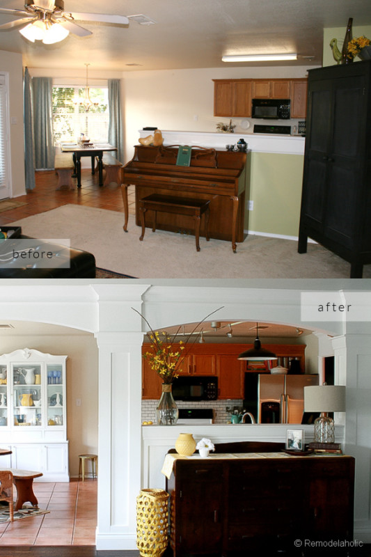 Open Kitchen Remodel Ideas To Add Column And Arch Between Kitchen And Living Room, Before And After Remodelaholic