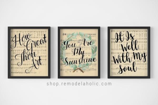 printable black and white gallery wall sheet music easter nursery rhyme