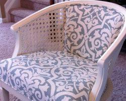 cane chair reupholster diy white light blue remodelaholic.com (600x401)
